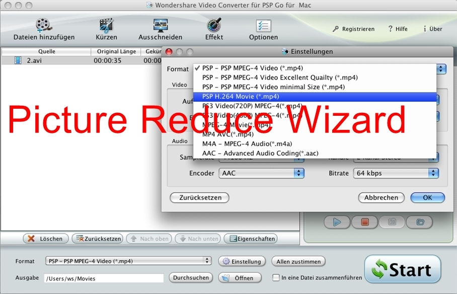 Wondershare Video Converter f?SP Go Mac(Deutsch