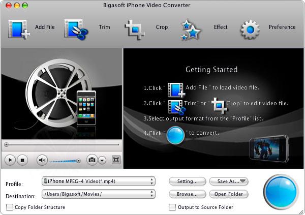 Bigasoft iPhone Video Converter for Mac 2.1.2.3854