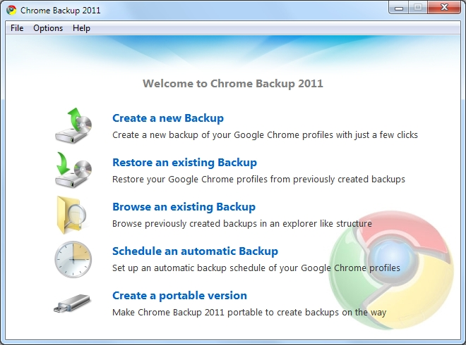 Chrome Backup 2011 1.0.3.10