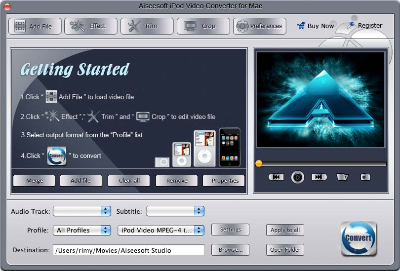 Aiseesoft iPod Video Converter for Mac 3.1.12