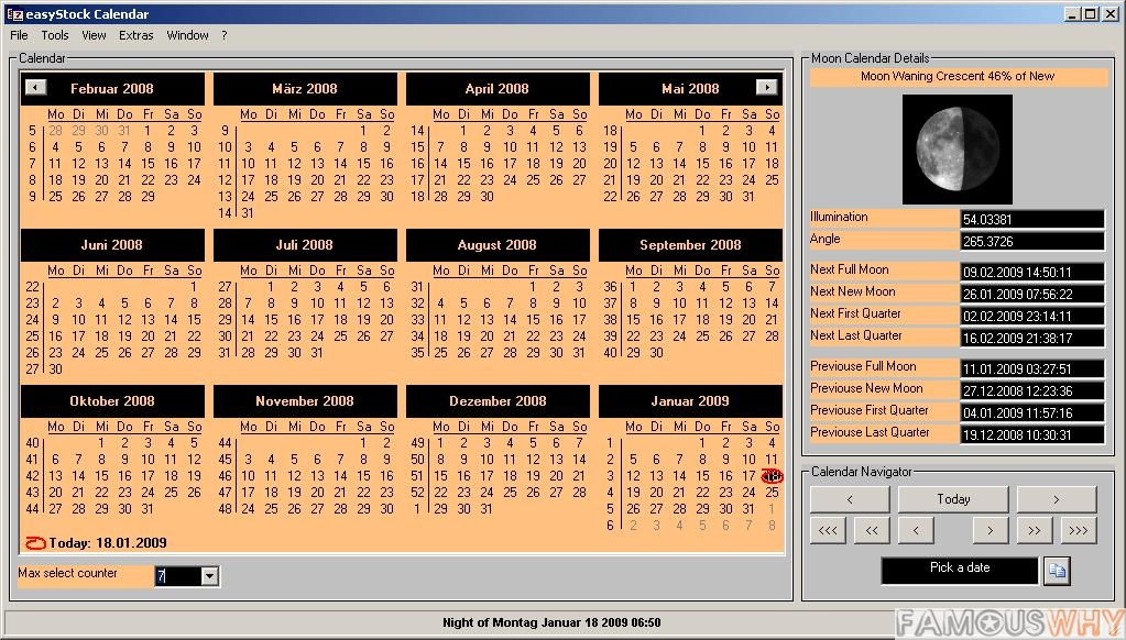 Moon Phase Calendar - 1 year license