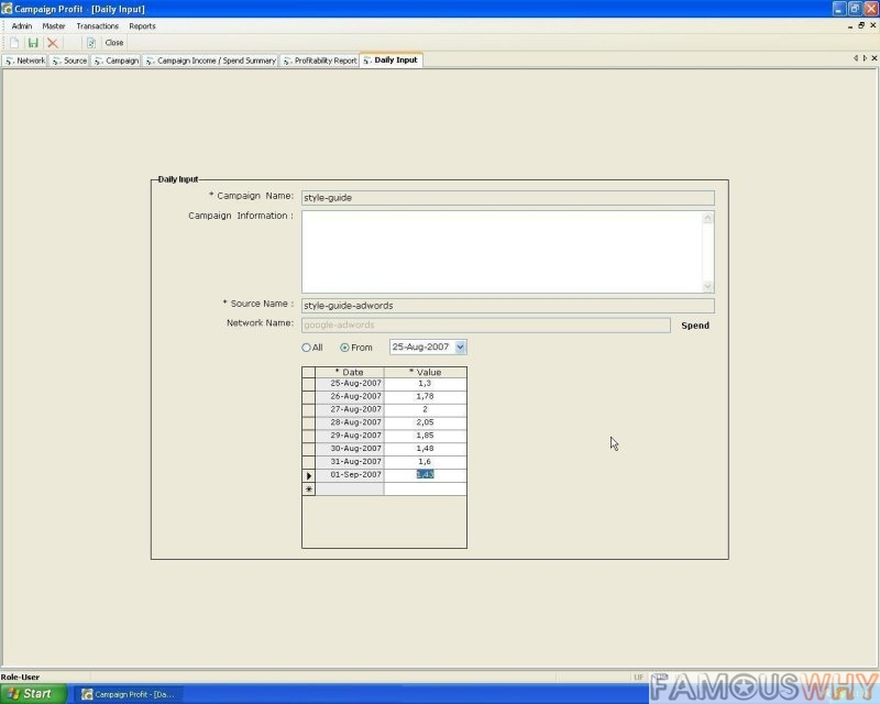 PTS2007 Profit Tracking System for Campain Profit