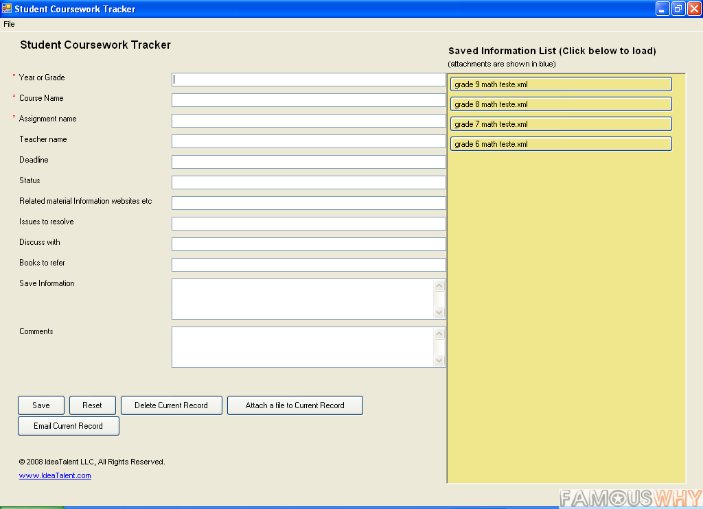 Student Coursework Tracker Software
