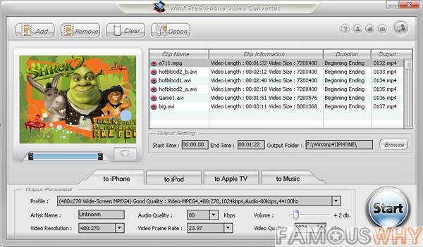 WinX Free iPhone Video Converter 3.3.5
