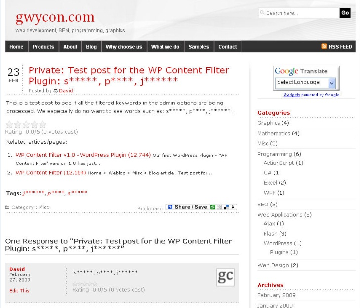 WP Content Filter 2.27